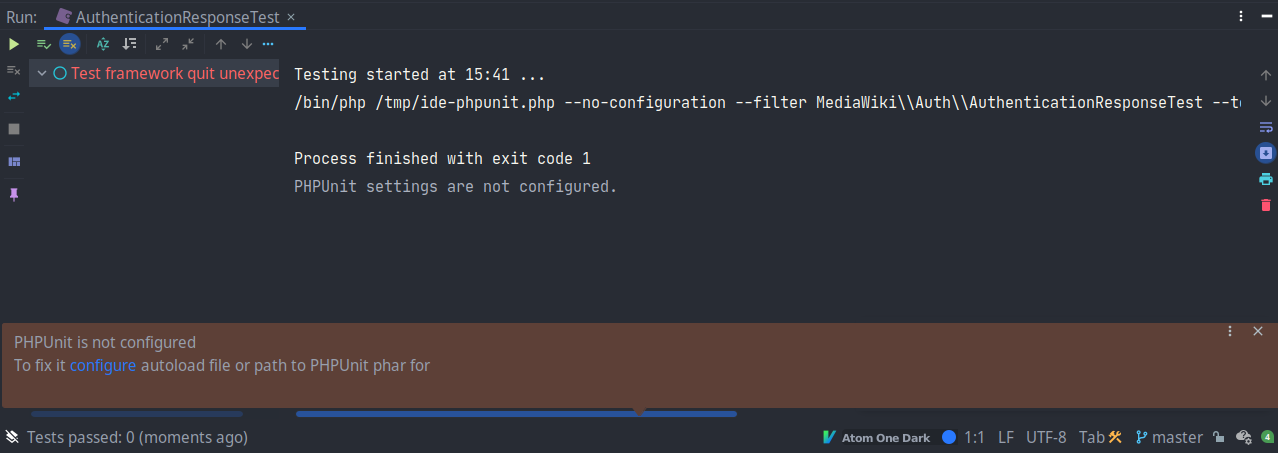 PHPUnit not configured in PhpStorm